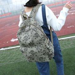 Seok - 骷髅头印花帆布背包