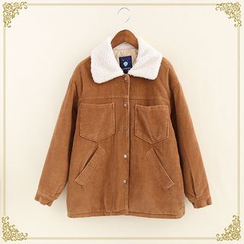 Fairyland - Fleece Collar Corduroy Buttoned Jacket