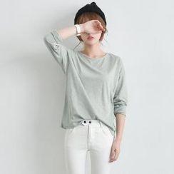 JUSTONE - Round-Neck Long-Sleeve T-Shirt