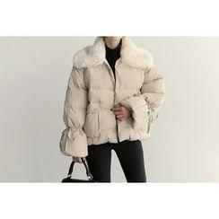 UPTOWNHOLIC - Tie-Sleeve Faux-Fur Padded Jacket