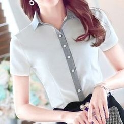 Eferu - Short-Sleeve Oxford Blouse