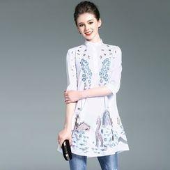 Elabo - Embroidered Stand Collar Long Shirt