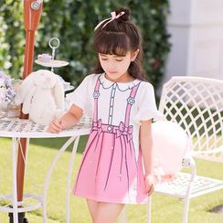 Candy Rain - Kids Printed Frill Trim Short Sleeve T-Shirt Dress