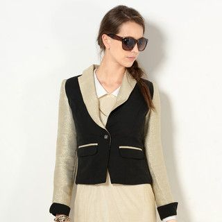 59 Seconds - Glitter-Panel Single-Button Jacket