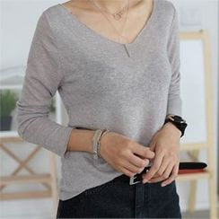 CHICFOX - V-Neck Long-Sleeve T-Shirt