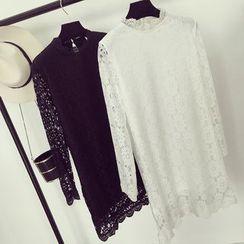 OYANA - Lace Panel Long-Sleeve Dress