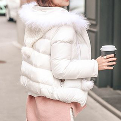 Seoul Fashion - Cable-Knit Faux-Fur Hooded Padded Zip Jacket