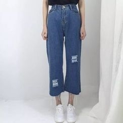 CHIH - Distressed Cropped Wide Leg Jeans
