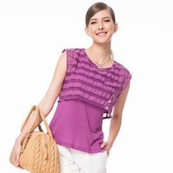 O.SA - Sleeveless Striped Overlay Top