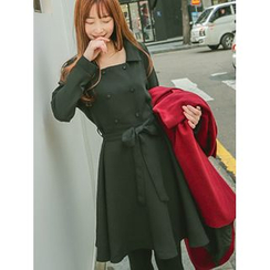 LOLOten - Double-Button Flared Coatdress with Sash