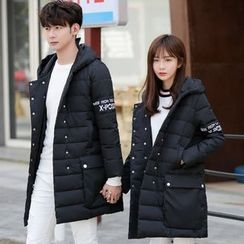 Tabla - Couple Matching Lettering Hooded Padded Coat