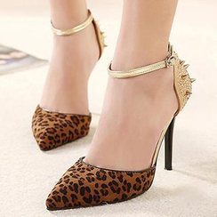 Mancienne - Pointy-Toe Studded Ankle Strap Stilettos
