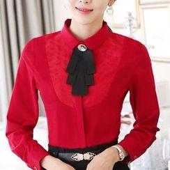 Eferu - 领带装饰雪纺衬衫