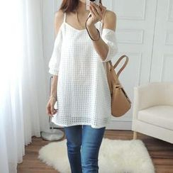 CYNTHIA - Off-Shoulder Gingham Tunic