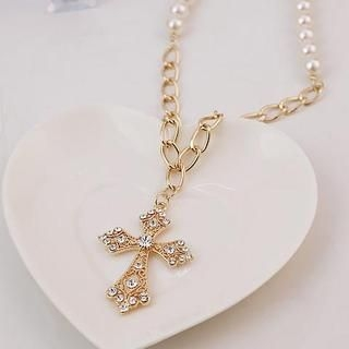 Love Generation - Faux-Pearl Rhinestone Cross Necklace