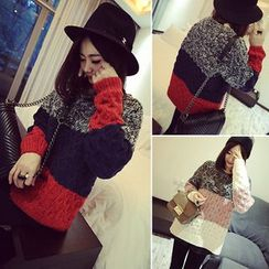Melon Juice - Color Block Cable Knit Sweater