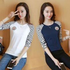Yvette - Striped Raglan Long-Sleeve T-Shirt