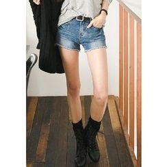 REDOPIN - Washed Denim Shorts