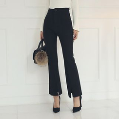 DABAGIRL - Slit-Hem Boot-Cut Dress Pants