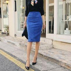 DABAGIRL - High-Waist Velvet Pencil Skirt