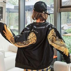 HAZEL - Embroidery Wing Zip Jacket