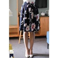 MyFiona - Floral Print A-Line Skirt