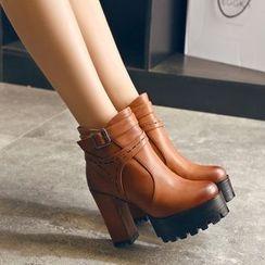 JY Shoes - Platform Heel Ankle Boots