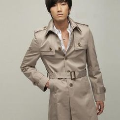 Free Shop - Flap-Front Belted Trench Coat