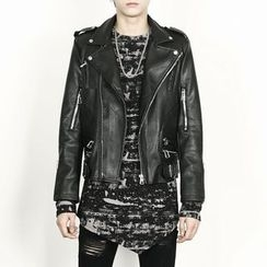 Rememberclick - Faux-Leather Biker Jacket