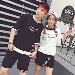 Azure - Couple Matching Lettering Elbow Sleeve T-Shirt