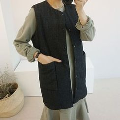 STYLEBYYAM - Snap-Button Padded Long vest