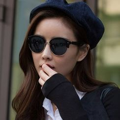 Biu Style - Mirrored Half Frame Sunglasses