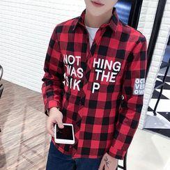 Bay Go Mall - Letter Gingham Long-Sleeve Shirt