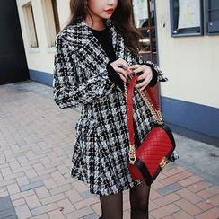 DABAGIRL - Wide-Lapel A-Line Tweed Coat