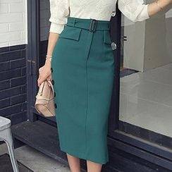 Wild Ivy - Button Side Belted Midi Skirt