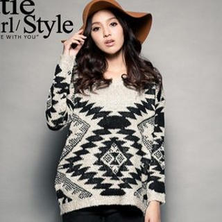 CUTIE FASHION - Geometric-Pattern Sweater