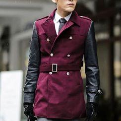 百高 - 仿皮袖双排扣大衣