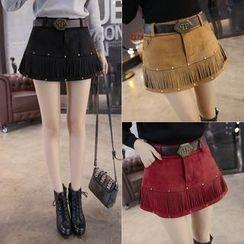 Angel Shine - Fringed A-Line Mini Skirt