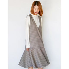 FROMBEGINNING - Sleeveless Check Midi Dress
