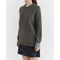 Someday, if - Contrast-Trim Wool Blend Knit Top