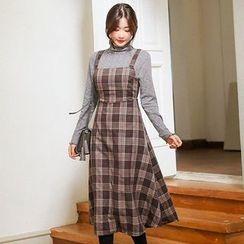Seoul Fashion - Check A-Line Midi Jumper Dress