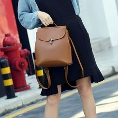 Annmuu - Faux-Leather Push-Lock Backpack