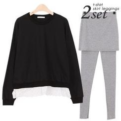 Ho Shop - Set: Eyelet Lace Hem Pullover + Inset Skirt Leggings
