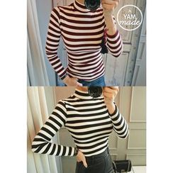 STYLEBYYAM - Turtle-Neck Striped Top