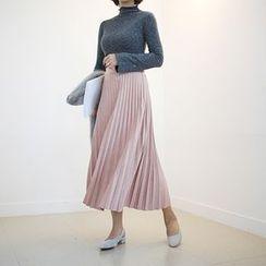 STYLEBYYAM - Band-Waist Accordion-Pleat Long Skirt