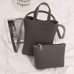 Diamante - 套裝: 人造皮斜挎包 + 拉鍊小袋