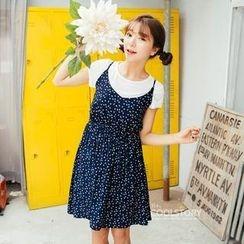 jcoolstory - Set: Short-Sleeve T-Shirt + Printed Jumper Skirt