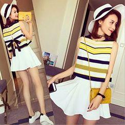 lilygirl - Set: Striped Tank Top + Skirt / Set: Striped Tank Top + Shorts
