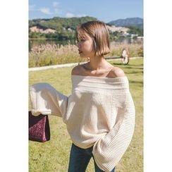 migunstyle - Off-Shoulder Bell-Sleeve Knit Top