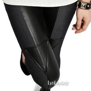 Lynley - Faux Leather Panel Denim Leggings
